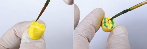 Fig. 4: Segue la pittura del corpo e delle zone incisale ed occlusale. Fig. 5: Le zone incisali e occlusali possono essere caratterizzate con Blue e Grey, ...
