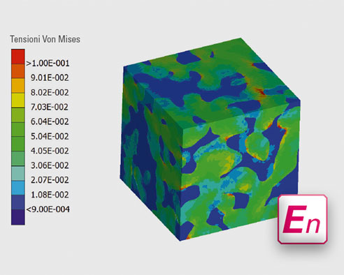 Fig. 2: Con il criterio di Von Mises è possibile visualizzare le forze che agiscono su una superficie. La rappresentazione con codici cromatici sull'esempio di un dado VITA ENAMIC mostra, che la ceramica (blu) ed il polimero (verde) reagiscono al carico in modo diverso.