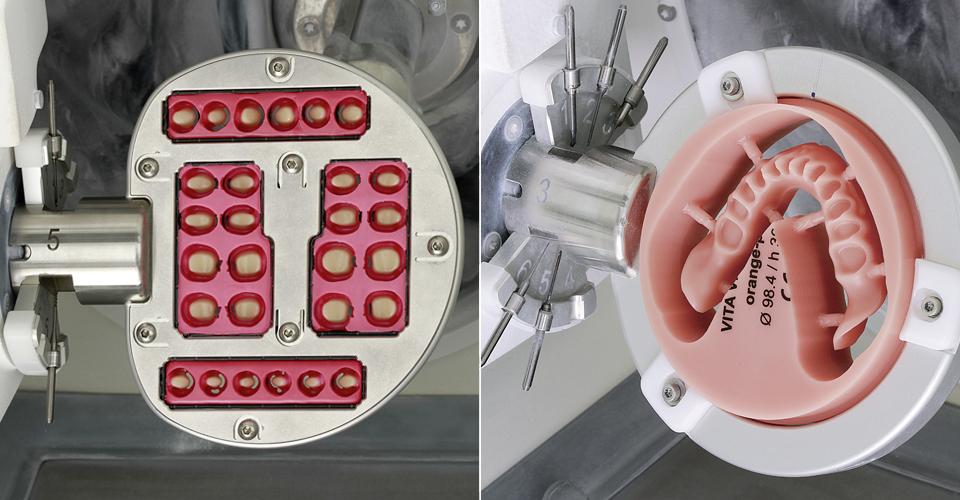 Abb. 9: Die Zähne im VITA VIONIC FRAME wurden zirkulär und basal modifiziert. Abb. 10: Die Prothesenbasis wurde aus der PMMA-Ronde VITA VIONIC BASE gefertigt.